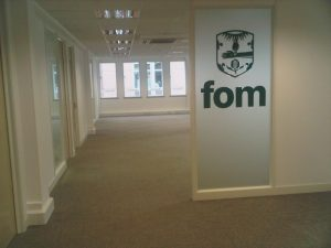 Partition Screen with Frosting & Glass Manifestation Logo