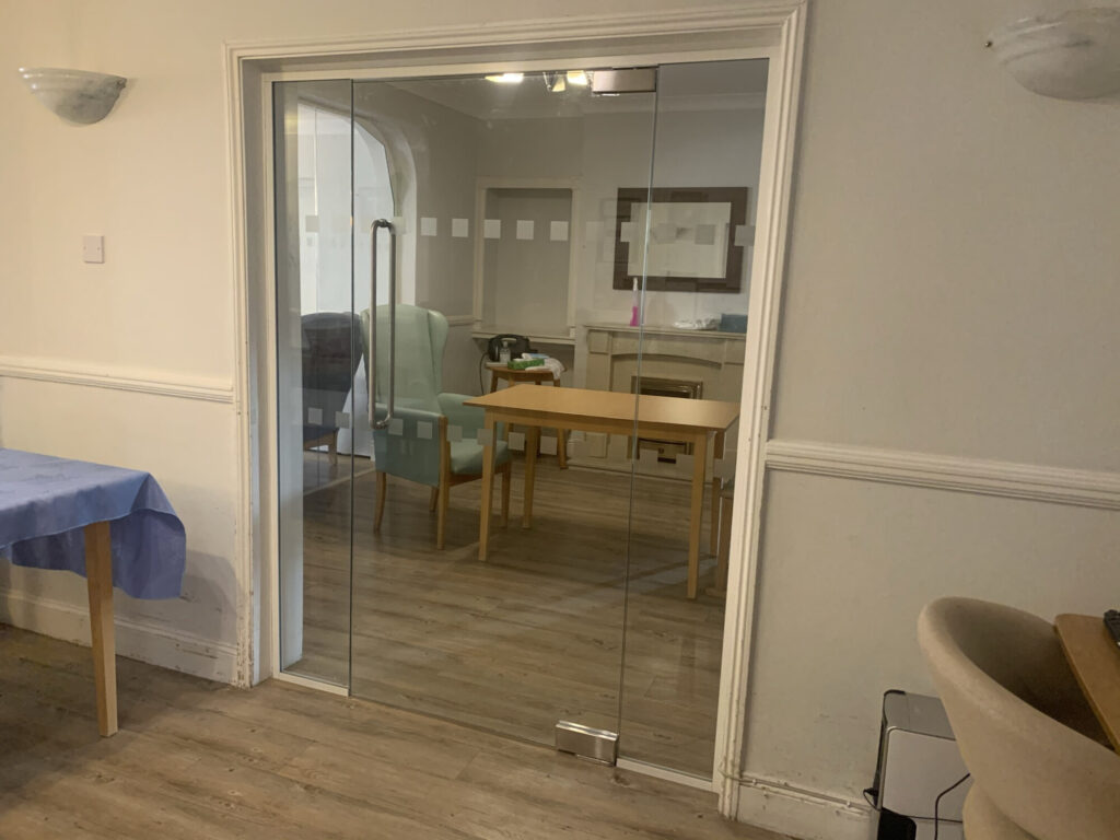 Doorway with Glazed Partitioning Installed